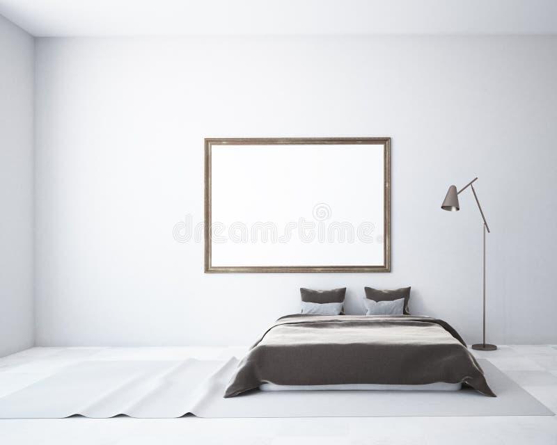 White bedroom interior, frame poster mock up vector illustration