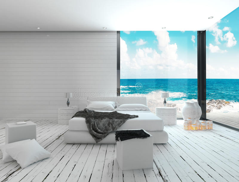 White bedroom interior in a maritime style and sea view royalty free illustration