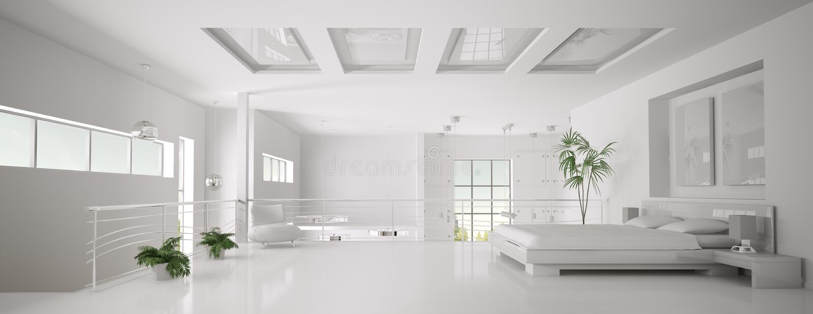 White Bedroom Interior Panorama 3d Render Stock Images