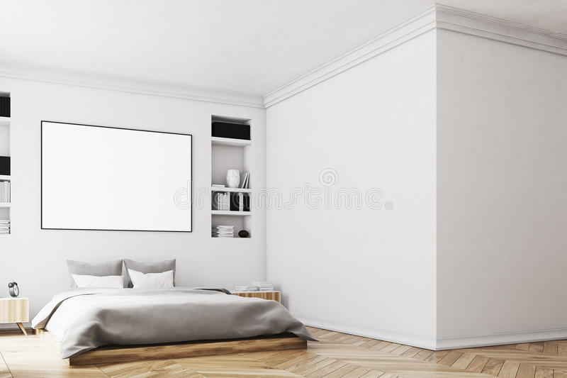 White bedroom interior, poster, wall stock illustration