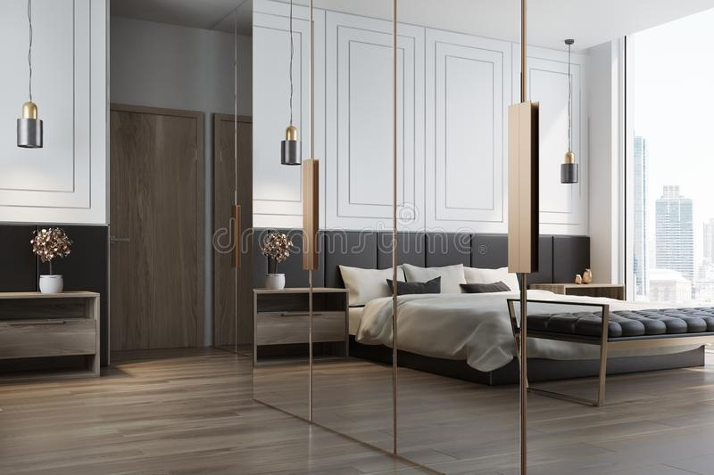 White bedroom interior reflection. White bedroom interior with a double bed with a white bedclothes and gray and white pillows, two bedside tables and a wardrobe stock illustration