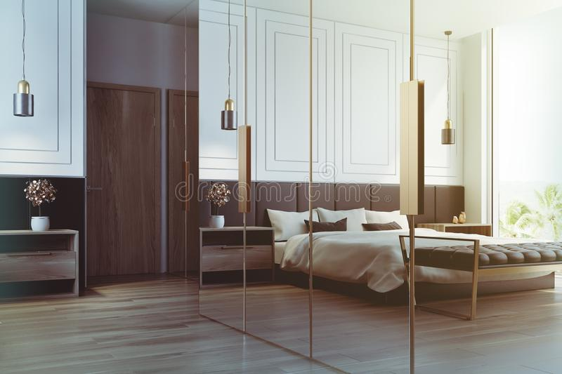 White bedroom interior reflection toned. White bedroom interior with a double bed with a white bedclothes and gray and white pillows, two bedside tables and a vector illustration