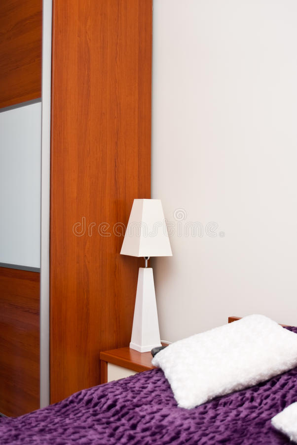 Download White Bedside Lamp stock image. Image of home, coverlet - 23786217