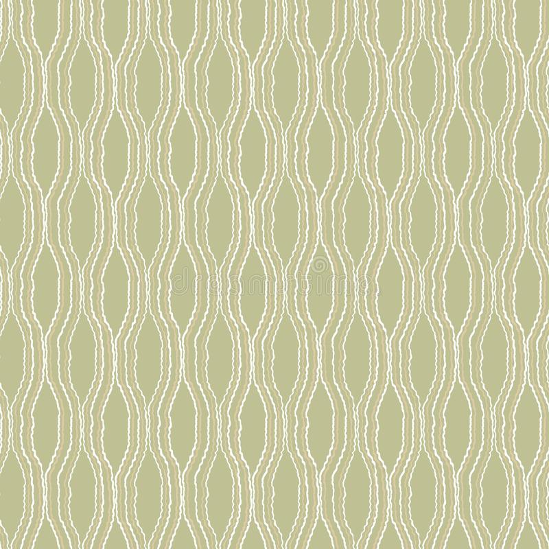 White and beige wavy lines on light green background stock illustration