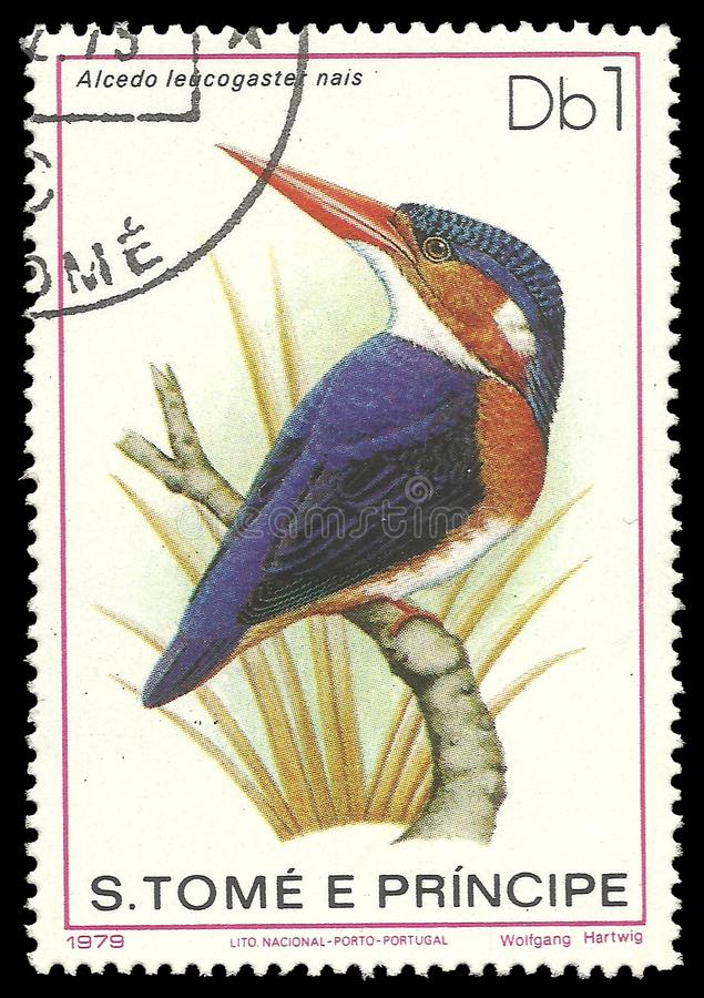 White bellied Kingfisher. Sao Tome and Principe - stamp 1979, Edition Fauna, Birds, White bellied Kingfisher, Corythornis leucogaster royalty free stock photography
