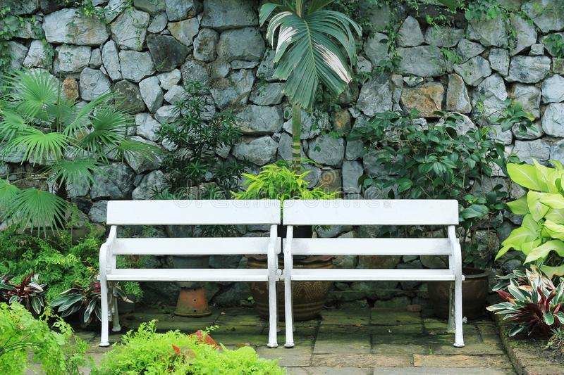 Download White bench stock image. Image of side, furniture, landscaped - 97587729