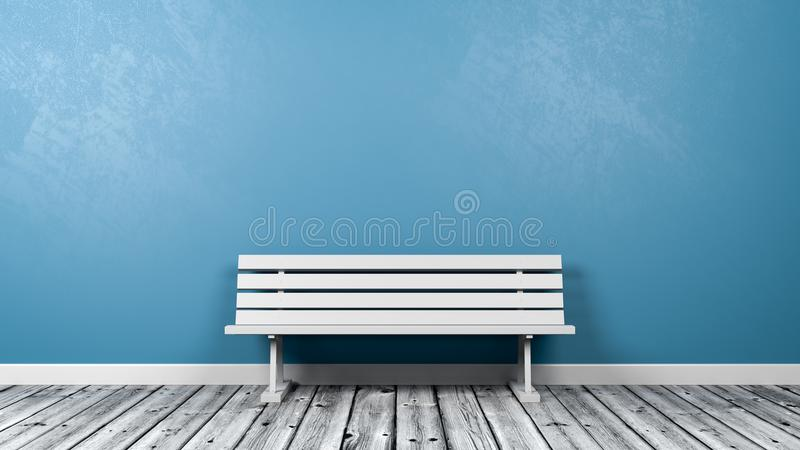 White Bench in the Room. White Bench on Wooden Floor Against Blue Wall with Copy Space 3D Illustration royalty free illustration