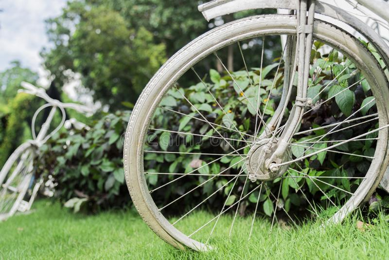 White bicycle in garden background. Vintage and nature concept. Close up and bike handle royalty free stock image