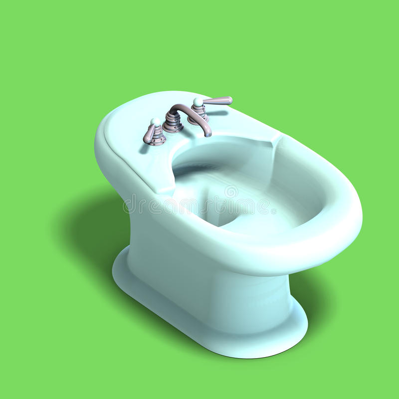 White bidet. 3d rendering of a white bidet with Clipping Path and shadow royalty free illustration