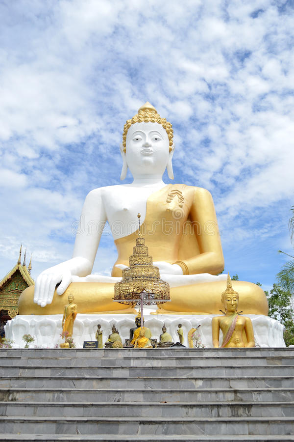 White Big Buddha. Statue in Chiang Mai, Thailand royalty free stock photo
