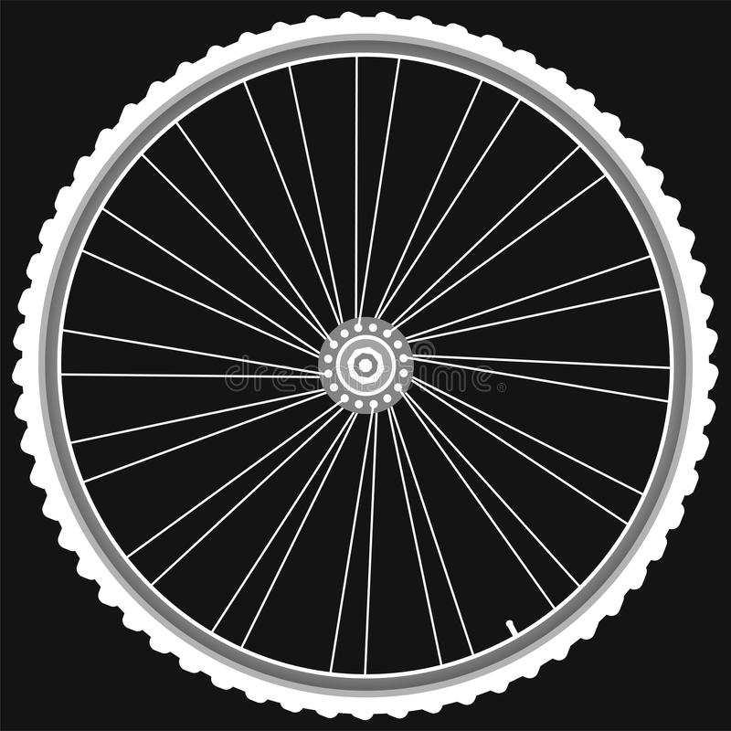 White Bike Wheels Isolated Black Background Vector Royalty Free Stock Photo
