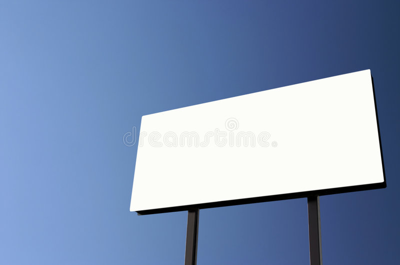 Download White Billboard With Pure Blue Sky - Sun On Left Stock Image - Image: 1714605