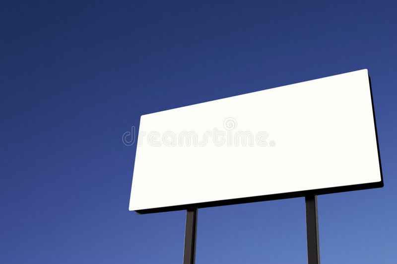 Download White Billboard With Pure Blue Sky - Sun On Lower Right Stock Images - Image: 1714604