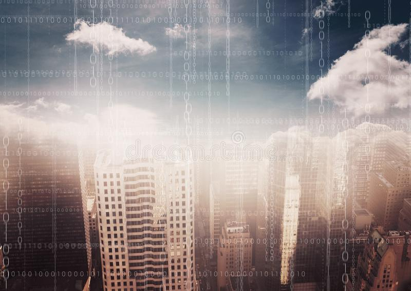 White binary code against blurry skyline with clouds stock illustration