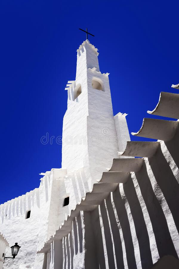 White Binibeca church tower royalty free stock photography