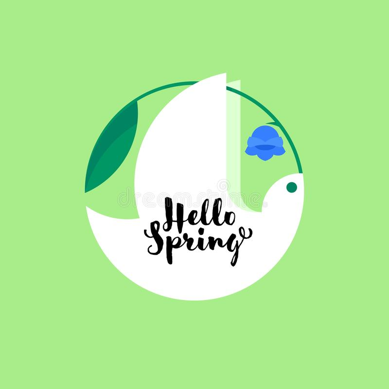 White bird with bluebell flower and cute hello spring lettering. On green background stock illustration