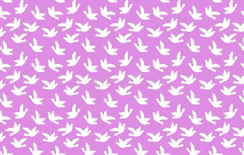 White birds on purple background. Illustration design. Animals, group, small, fabric, art, graphic, life, flying, dress, shirt, skirt, picnic, blanket royalty free illustration