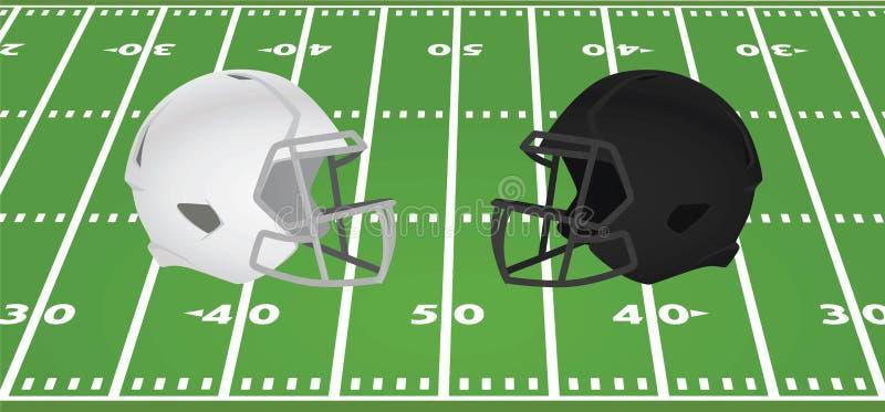 White and black american football helmet in front of field. Vector illustration vector illustration