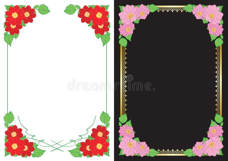 White and black backgrounds with flowers in corners - vector vertical frames with dahlias. White and black backgrounds with flowers in corners - vector vertical stock illustration