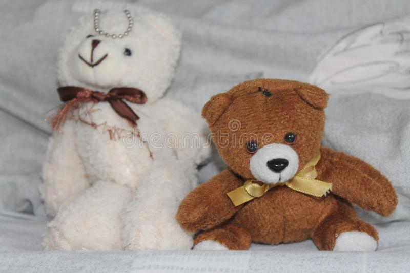 White and black Bears toy sitting on the bed royalty free stock image