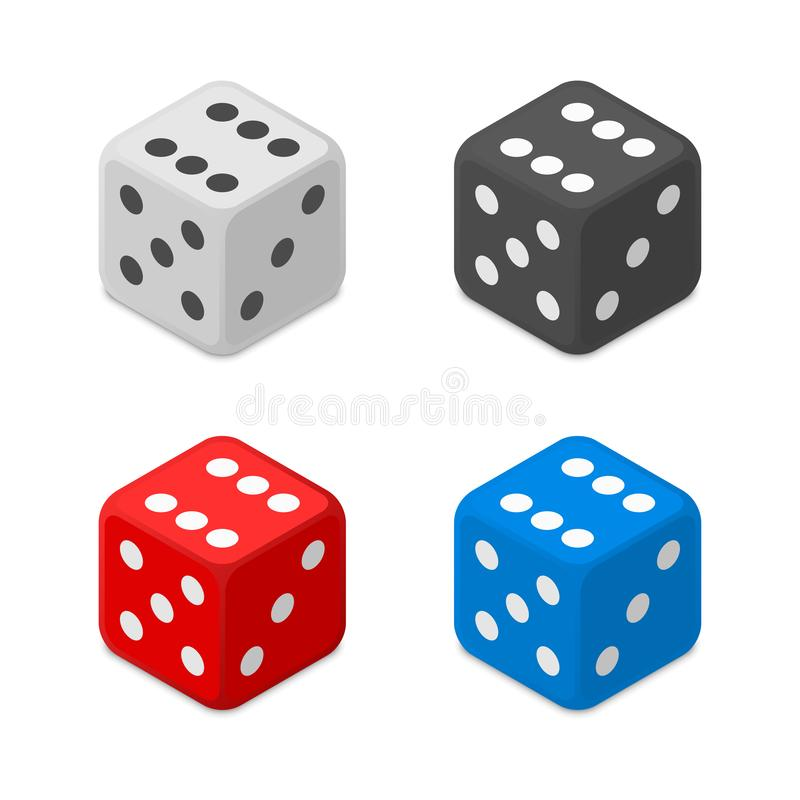Dice icon set. White, black, blue and red dice icon isolated on white background. Casino Dice sign. Gambling concept. Vector illustration EPS 10 stock illustration