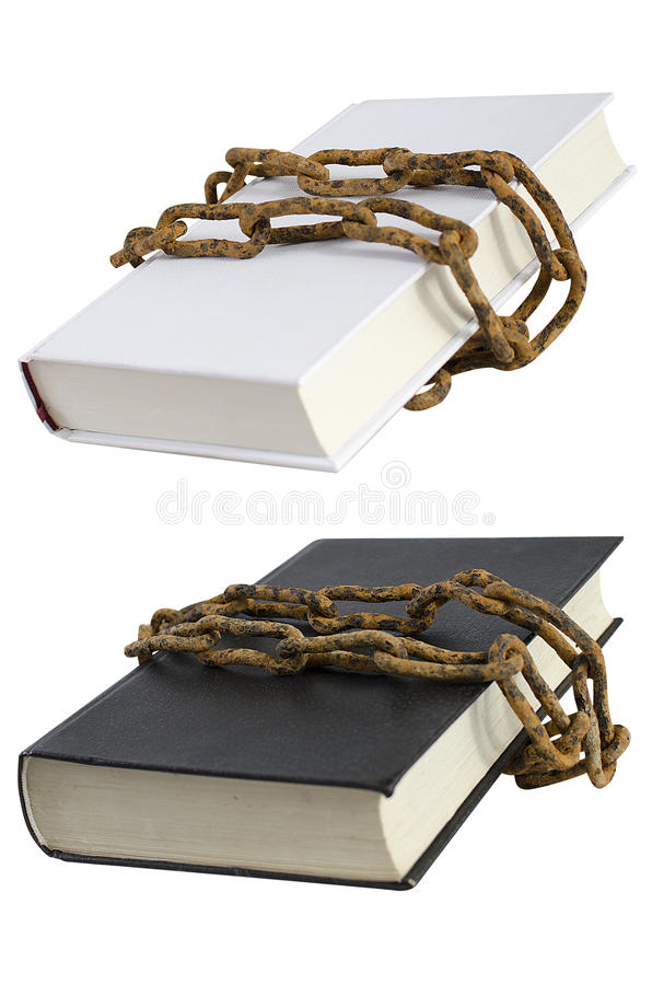 White and black book with rust chain. White and black book isolated on white with rust chain stock photos