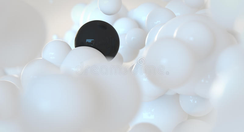 White and black bubbles - spheres - abstract cloud concept stock illustration