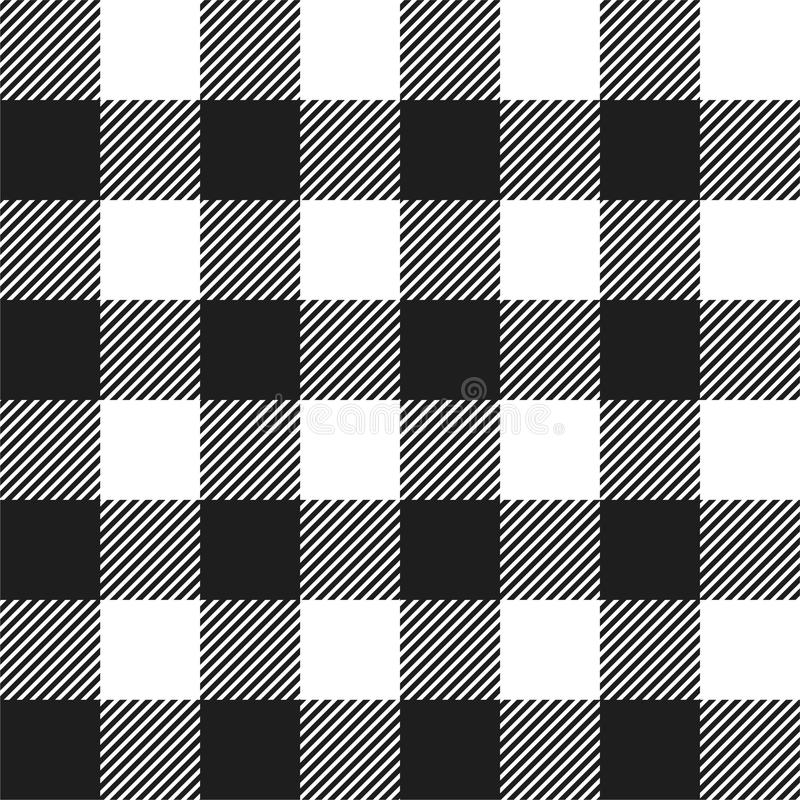 White and Black Buffalo Check Plaid Seamless Pattern vector illustration