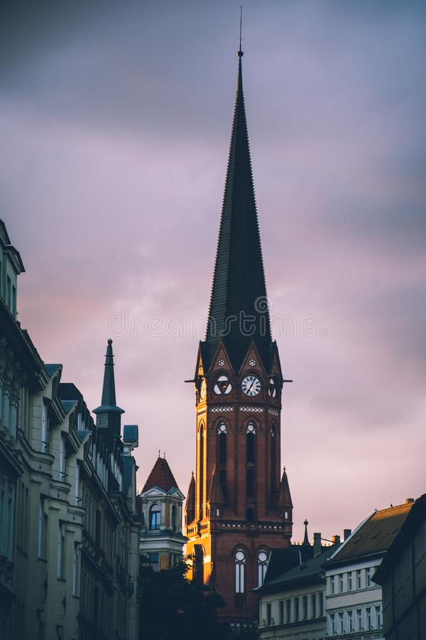 White and Black Cathedral in Tilt Shift Photography stock photography