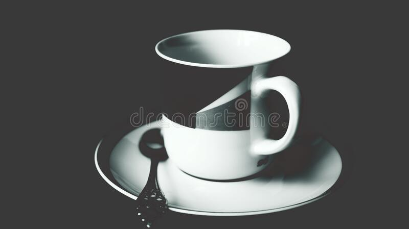 White and Black Ceramic Tea Mug on White Ceramic Round Plate and Stainless Steel Spoon on Top royalty free stock photography