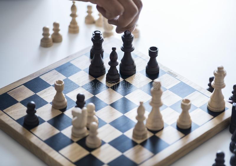 White and Black Chessboard With Pieces royalty free stock photography