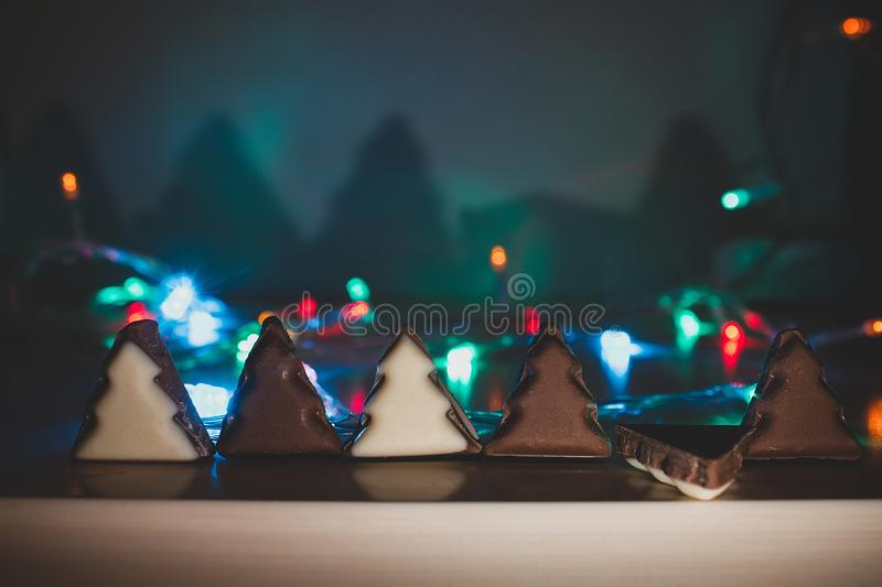 white and black chocolate form of christmas tree royalty free stock photos