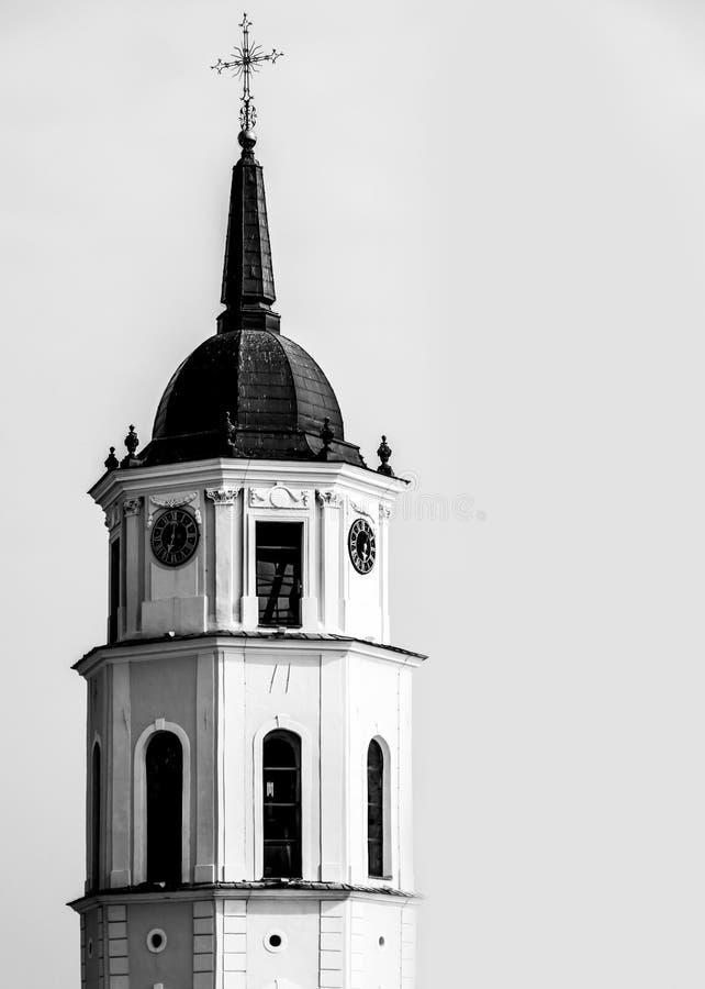 White Black Church Clock Tower Free Public Domain Cc0 Image