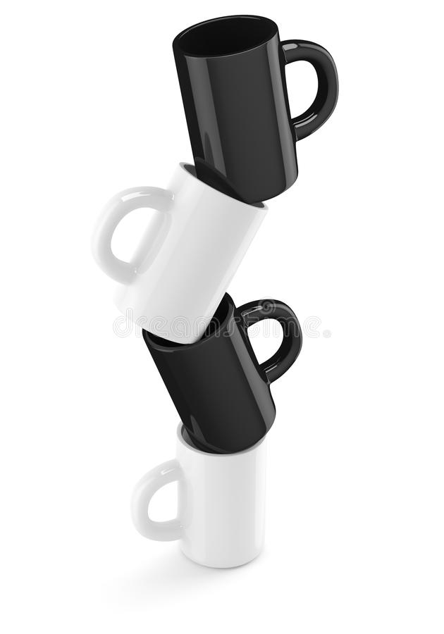 White and black coffee cups royalty free illustration