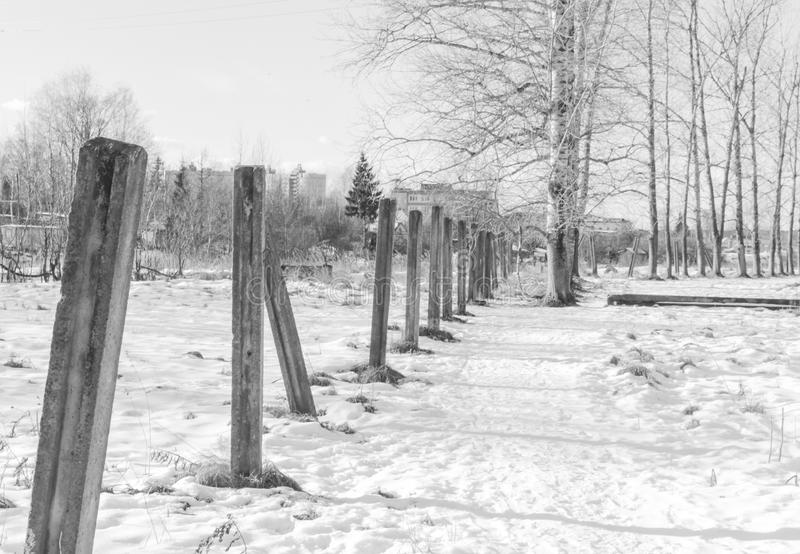 White-black. concrete pillars from the fence standing in a row a stock photography