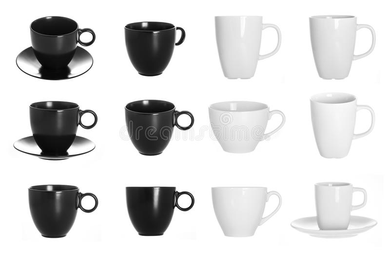 White and black cup on white royalty free stock photography