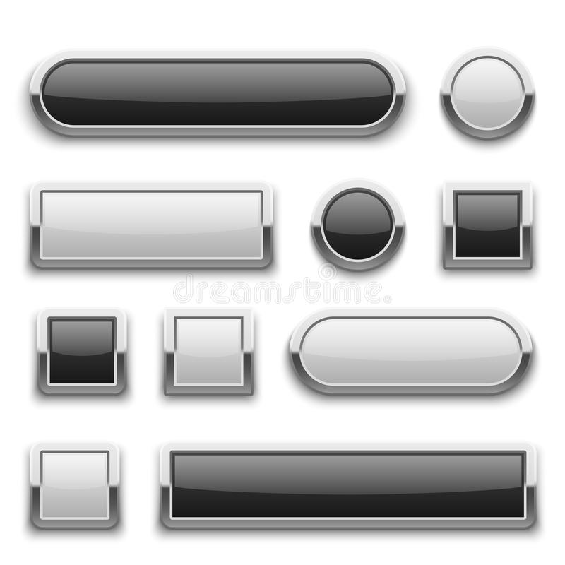White and black 3d technology buttons with shiny silver chrome metal frame. vector set stock illustration
