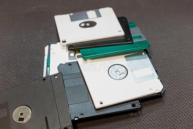 White and black floppy disk stacked, retro storage medium design basis royalty free stock images
