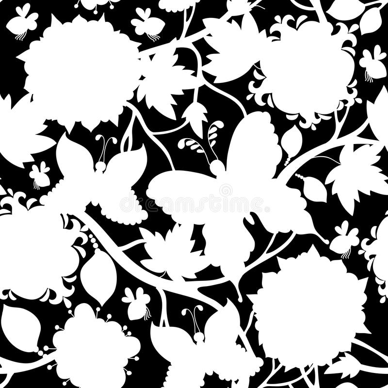 White and black floral pattern vector illustration