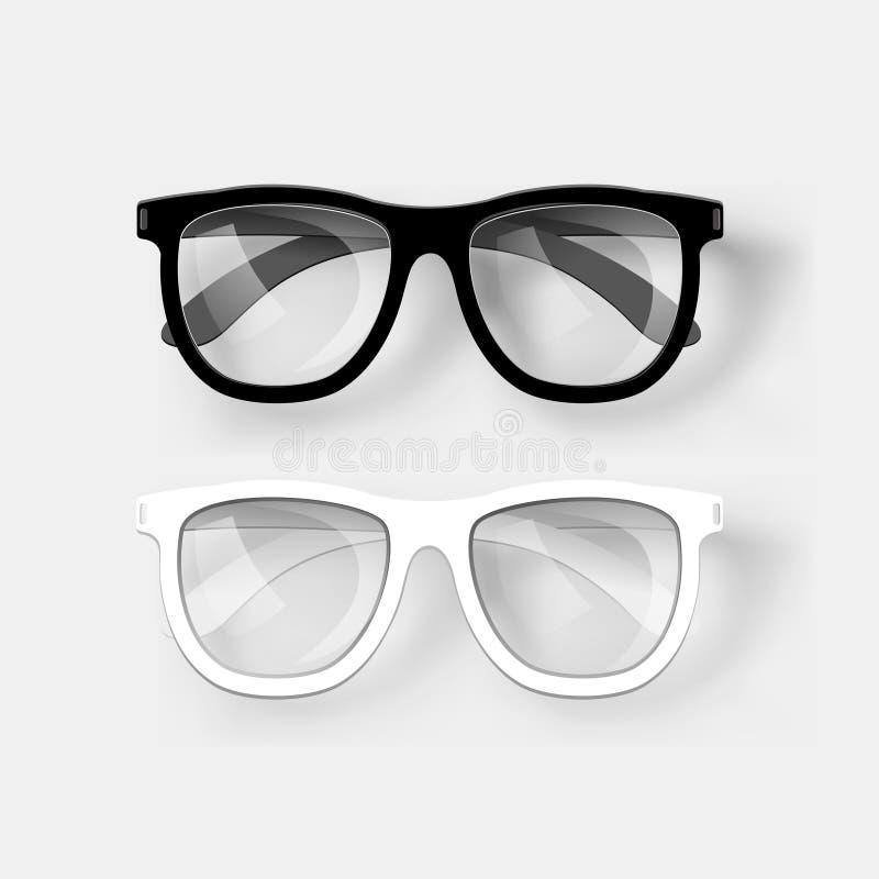 White and black glasses. Vector stock illustration