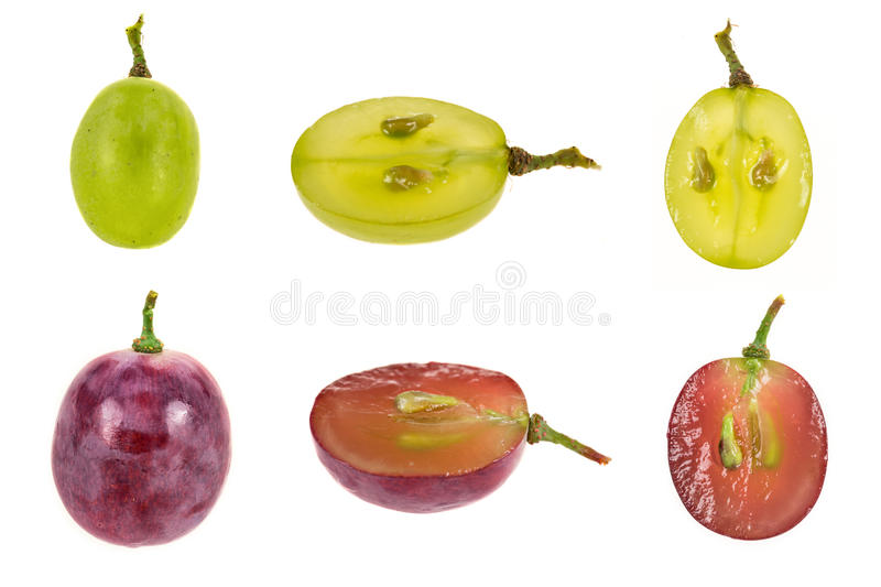 White and black grapes in different angles royalty free stock images