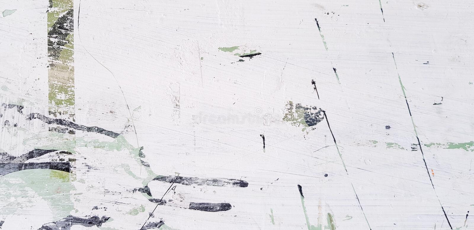 White, Black and Green art abstract scratch or mark on the surface with copy space royalty free stock photo