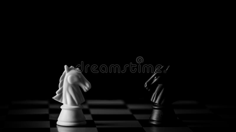 White and black horse chess encounter on a chessboard in the dark background. Business leader and fight concept stock photo