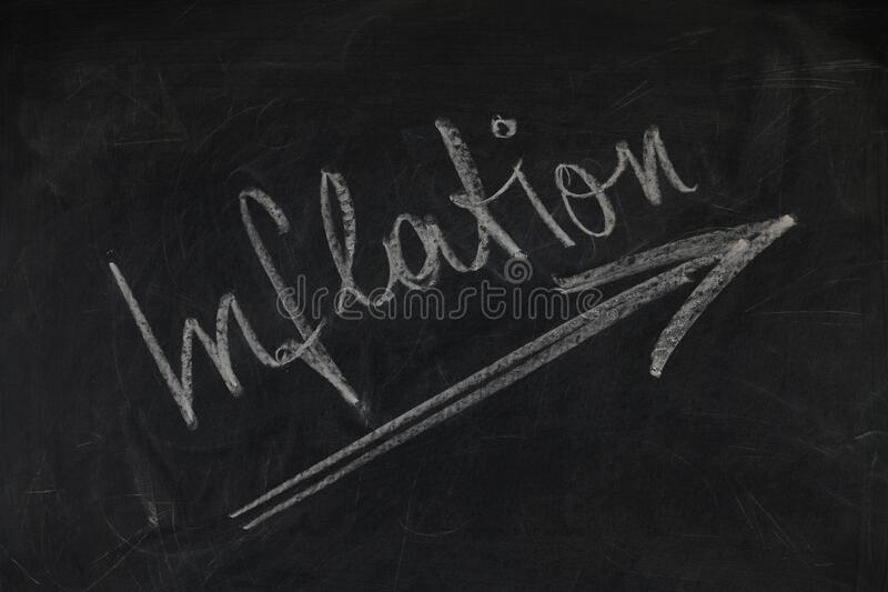 White and Black Inflation Chalk Board Writing stock photos