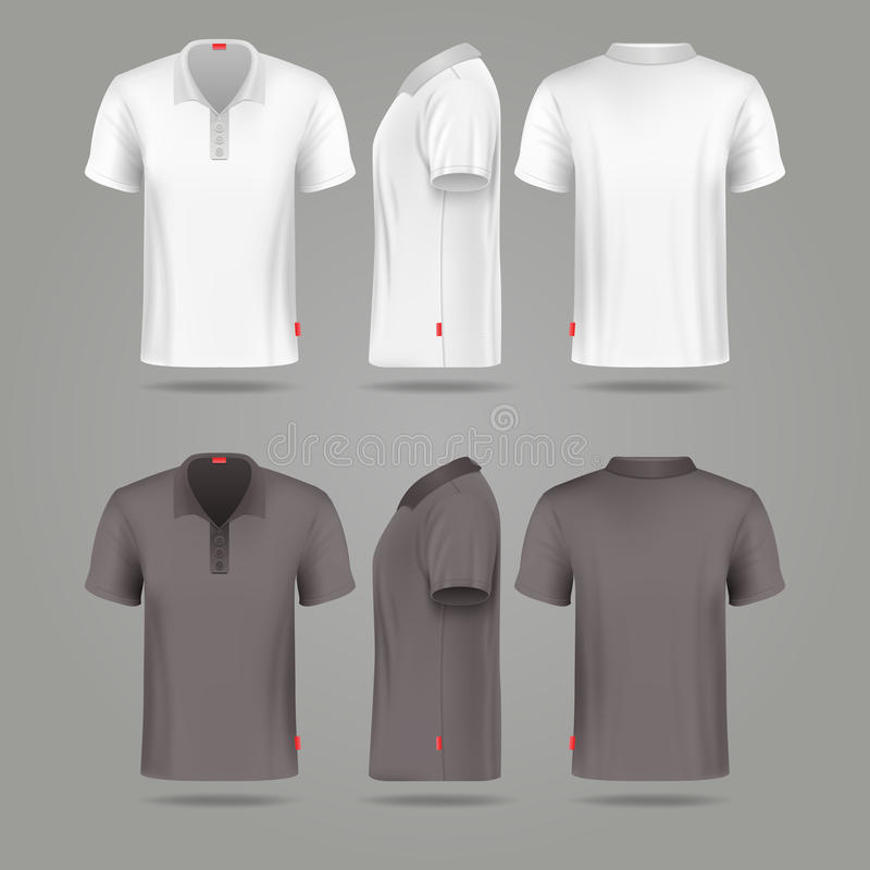 White black mens polo t-shirt front back and side views vector illustration