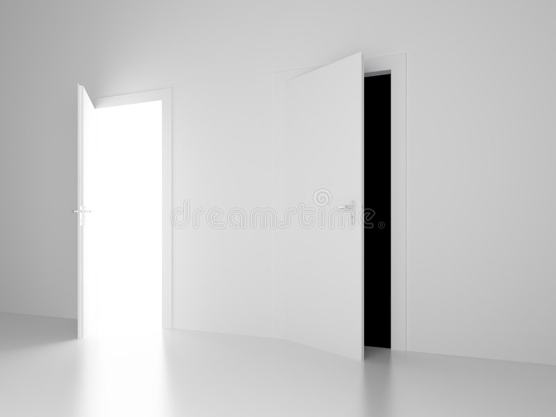 Download White And Black Open Doors Of Future Royalty Free Stock Image - Image: 5186666