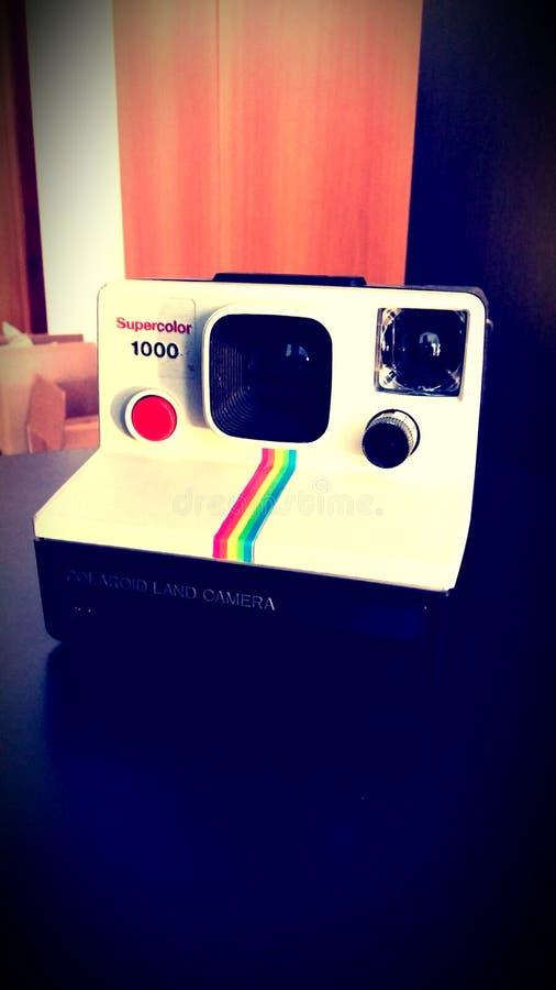 White and Black Polaroid Camera stock photo