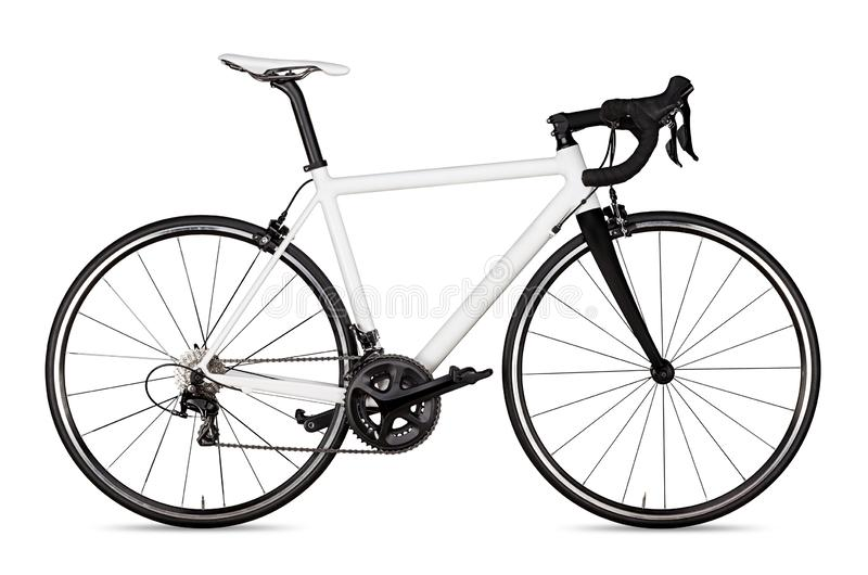 white black racing sport road bike bicycle racer isolated stock photography