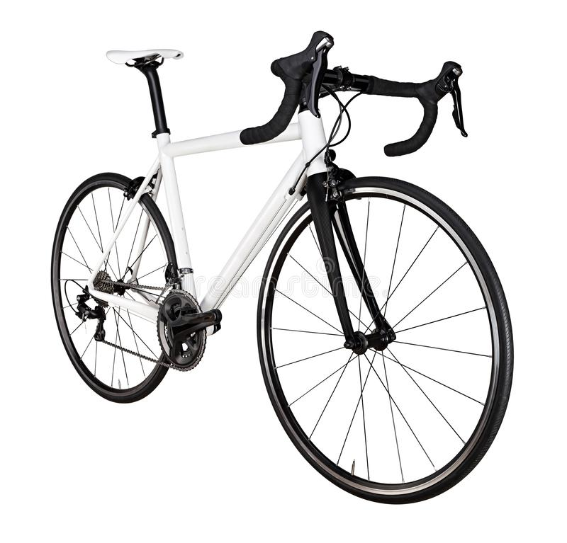 White black racing sport road bike bicycle racer isolated. Background stock image