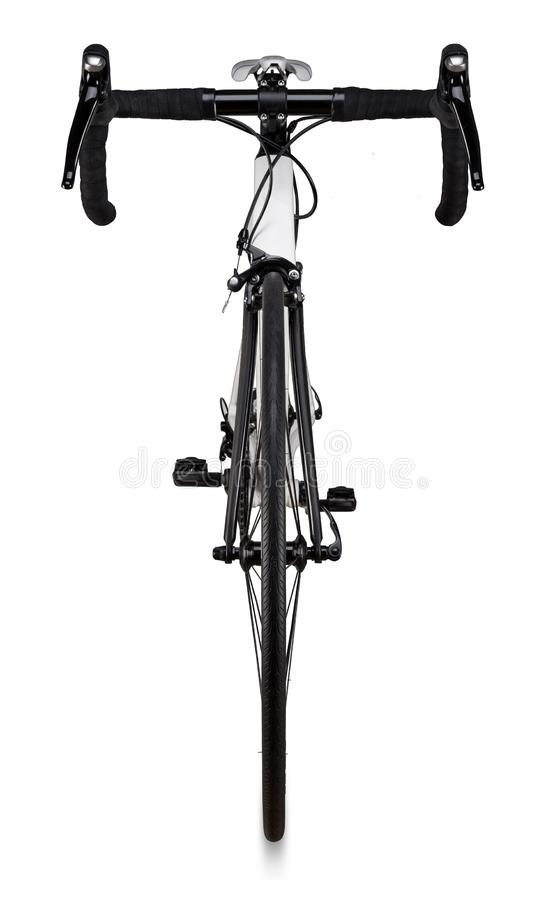 White black racing sport road bike bicycle racer isolated. Background stock photos